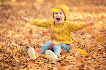 Happy child having fun outdoor in autumn park. Kid sitting on leaves against yellow blurred background