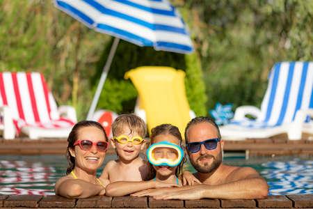 Happy family having fun on summer vacation.