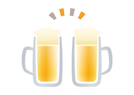 Material illustration to toast with cold beer