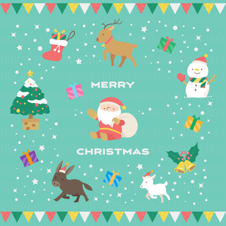 Christmas Characters and Backgrounds  イラスト・ベクター素材