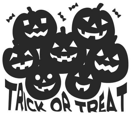 Pumpkin Silhouettes for Halloween Ilustração