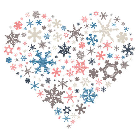 Heart mark 03 of colorful snowflakes