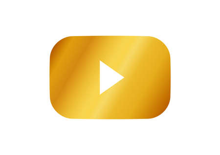 Simple golden video playback icon