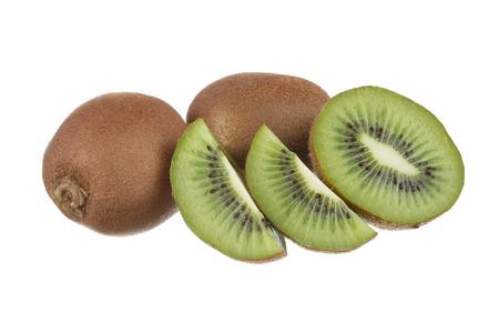 Whole kiwi fruit and his sliced segments isolated on white background Stock Photo