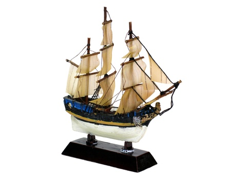 sailing vesse (ship) model isolated on white background photo