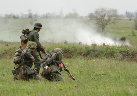 reenacting: German soldiers of WW2 at the combat
