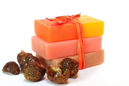 handmade soap: Handmade Soap and soap nuts close up. Spa products