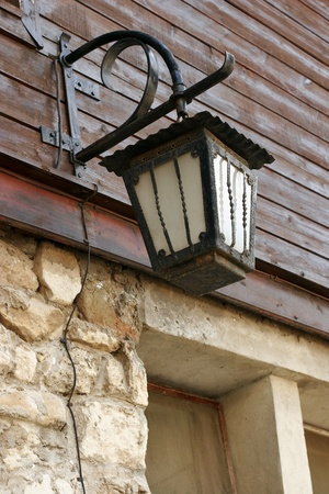 old forged lantern in Old Nessebar Bulgaria photo