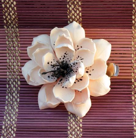 hairclip: flower shaped hair pin handmade of clay