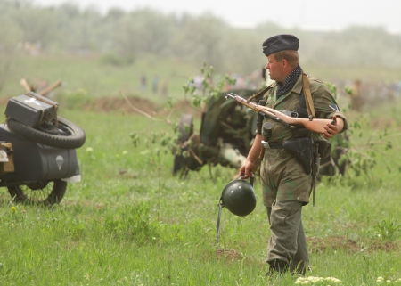 relive: ODESSA, UKRAINE - MAY 6. The WWII re-live.