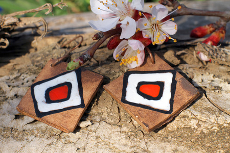 frippery: Handmade clay earrings with apricot blossom in spring on the nature background Stock Photo