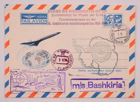 postmarks: Russia around 1973: Postage envelope edition Perm shows image of Antarctic postmarks research station Novolazarevskaya Editorial