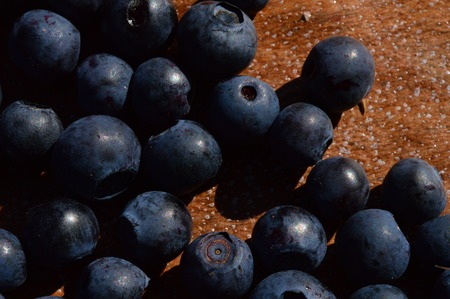 Blueberry ripe berries summer harvest on a wooden tray Stock Photo