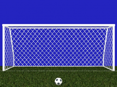 goal post: Goal post and soccer ball isolated on blue