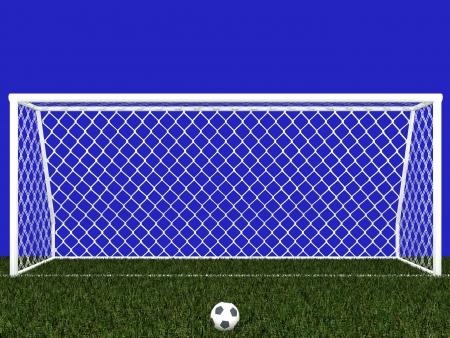 Palo della porta e pallone da calcio isolato su blu
