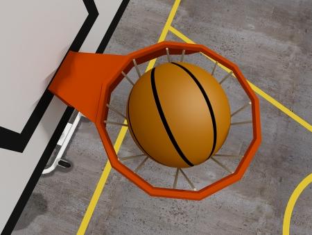 panier basketball: panier de basket avec tous passer par net, 3d