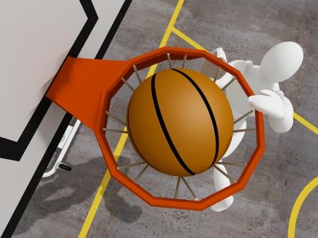 dunking: slam dunking basketball, 3d