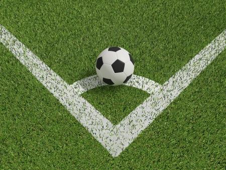 calcio o calcetto in campo di erba verde su Conner