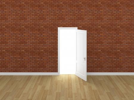 door open on brick wall ,3d  photo
