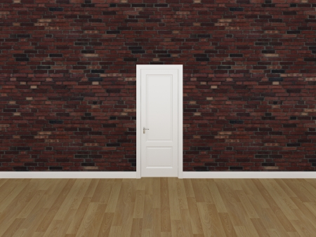 door on brick wall ,3d  photo