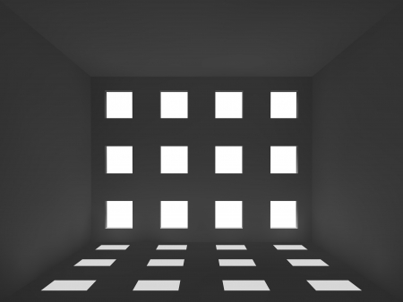 depress: llight and shadow  in the room , 3d interior