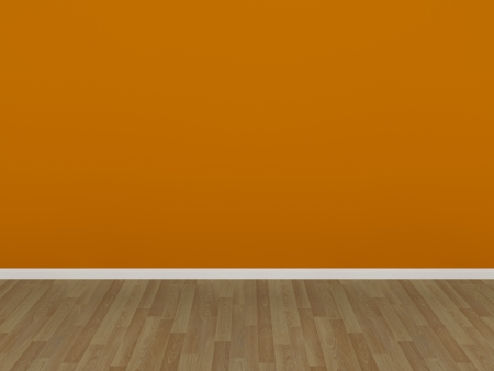 orange wall and wood floor,3d  photo