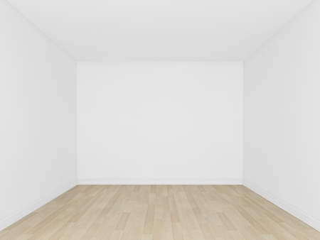 white wall and wood floor ,empty room,3d interior photo