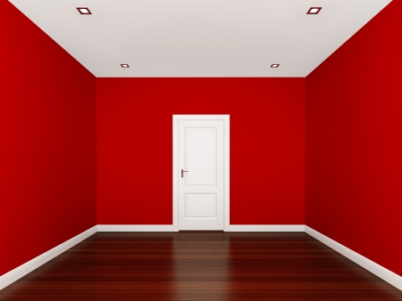 pared roja: pared de color rojo en un cuarto vac�o
