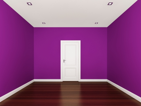 purple wall,empty room,3d nterior photo