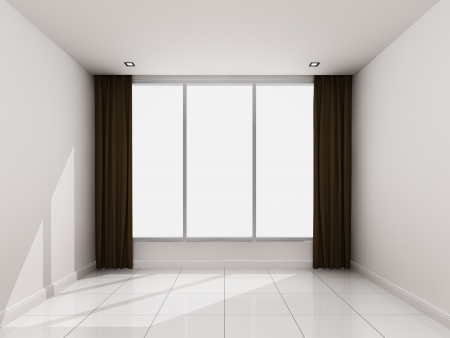 curtian: Empty white room in the morning