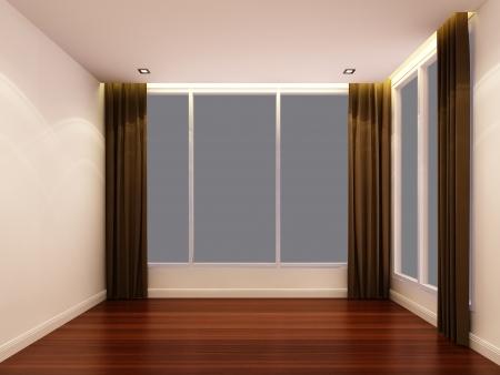 Empty white room at night Stock Photo