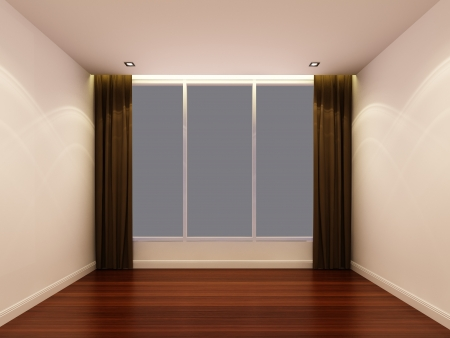 curtian: Empty white room at night Stock Photo