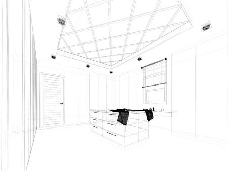 walk in closet: abstract sketch design of interior walk-in closet