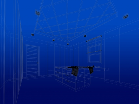 abstract sketch design of interior walk-in closet photo