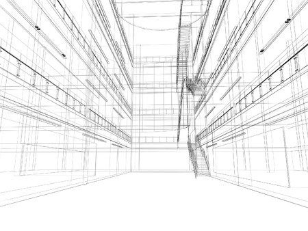 blueprint: abstract sketch design of interior  hall