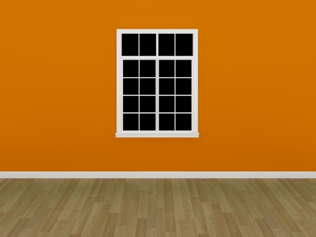 the window on the orange wall in a empty room  photo