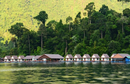 floating home ,Cheow Lan lake, Khao Sok National Park, Thailand photo