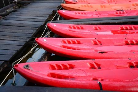 cayak: red Kayak , Cheow Lan lake, Khao Sok National Park, Thailand