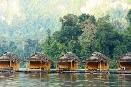 floating home ,Cheow Lan lake, Khao Sok National Park, Thailand Stock Photo