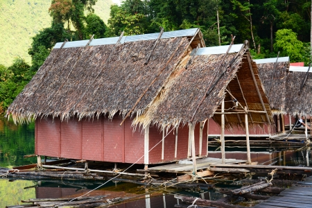 floating home ,Cheow Lan lake, Khao Sok National Park, Thailand Stock Photo - 23794823