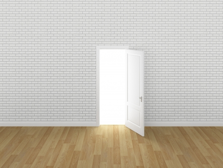 door open on white brick wall ,3d  photo
