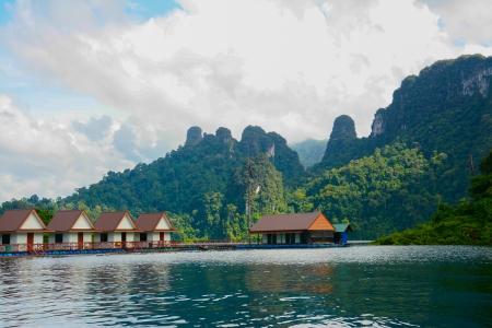 floating house, Cheow Lan lake, Khao Sok National Park, Thailand photo