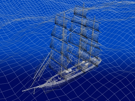 3D wireframe of Chinese Junk in ocean photo