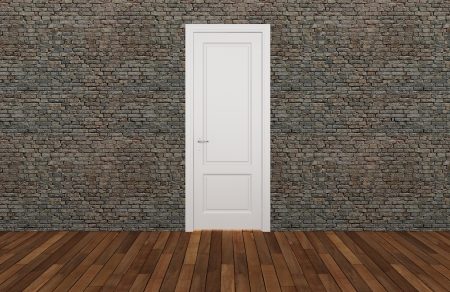 door on old brick wall ,3d  photo