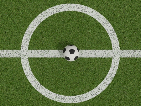 soccer or football on soccer field on top view ,3d  photo