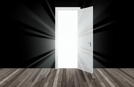 abriendo puerta: la luz del sol detr�s de la puerta de apertura, 3D