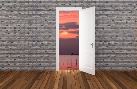 Landscape behind the opening door,3D