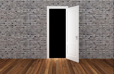 door open on brick wall ,3d  photo