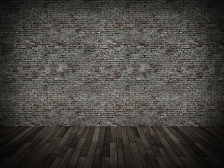 old brick wall and wood floor,3d  photo