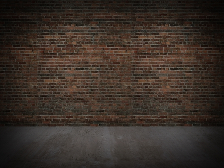 vecchio muro di mattoni e pavimento in legno, 3d Archivio Fotografico